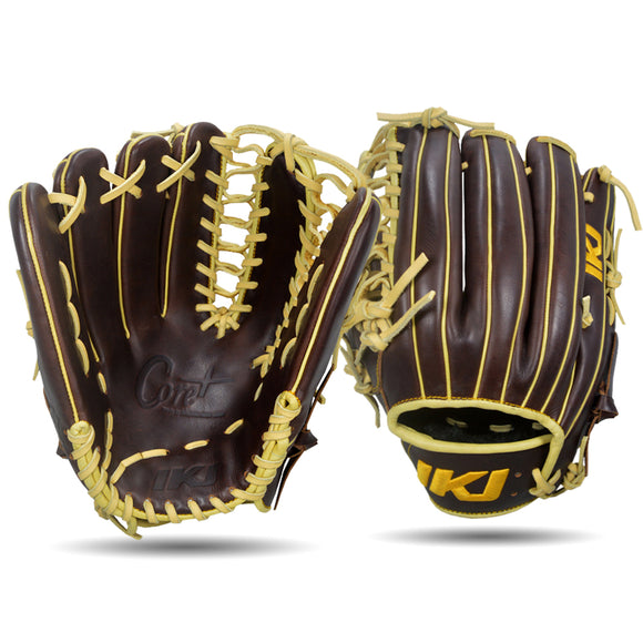 IKJ Core+ Series 12.75 INCH Double Welt Model OUTFIELD Baseball Glove in Dark Brown for LEFT-HANDED Thrower