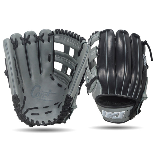 IKJ Core+ Series 12.75 INCH Single Welt Model OUTFIELD Baseball Glove in Gray and Black for LEFT-HANDED Thrower