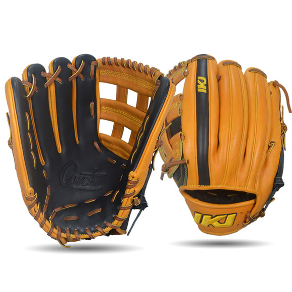 IKJ Core+ Series 12.75 INCH Double Welt Model OUTFIELD Baseball Glove in Black and Harvest for LEFT-HANDED Thrower