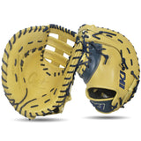 IKJ Core+ Series 12.75 INCH Post Web Model FIRST BASEMAN Baseball Mitt in Camel and Navy for LEFT-HANDED Thrower