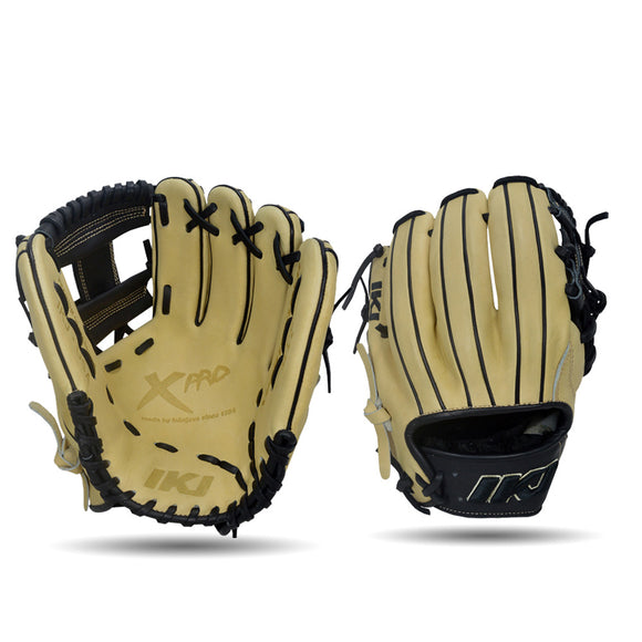 IKJ Xpro Series 11.5 INCH Double Welt Model INFIELD Baseball Glove in Straw and Black for RIGHT-HANDED Thrower
