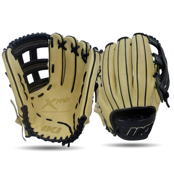 IKJ Xpro Series 12.75 INCH Double Welt Model OUTFIELD Baseball Glove in Straw and Black for RIGHT-HANDED Thrower