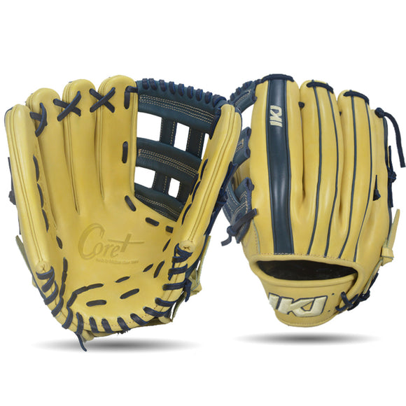 IKJ Core+ Series 12.75 INCH Double Welt Model OUTFIELD Baseball Glove in Camel and Navy for LEFT-HANDED Thrower