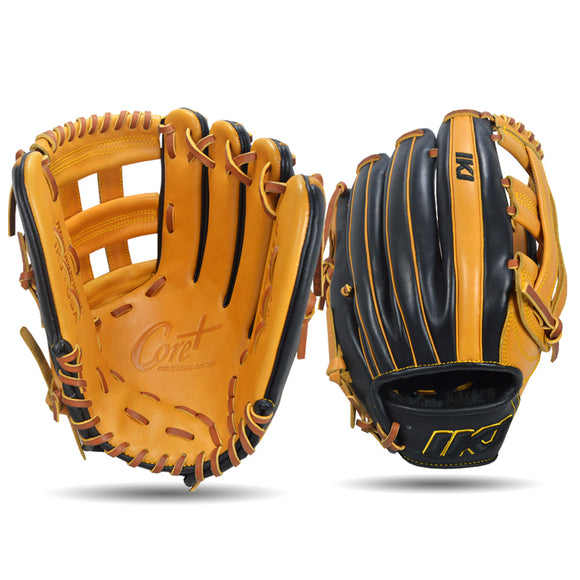 IKJ Core+ Series 12.75 INCH Double Welt Model OUTFIELD Baseball Glove in Horween Tan and Black for RIGHT-HANDED Thrower
