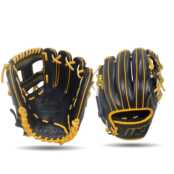 IKJ Xpro Series 11.5 INCH Double Welt Model INFIELD Baseball Glove in Black and Harvest for RIGHT-HANDED Thrower