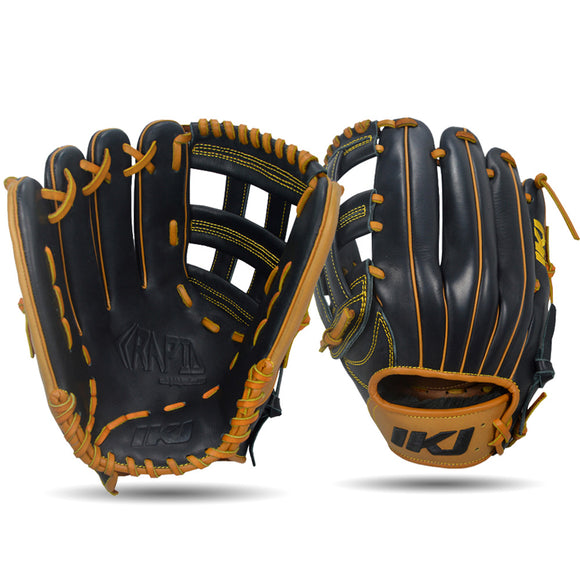 IKJ Rapid Series 12.5 INCH Single Welt Model OUTFIELD Baseball Glove in Black and Tan for LEFT-HANDED Thrower