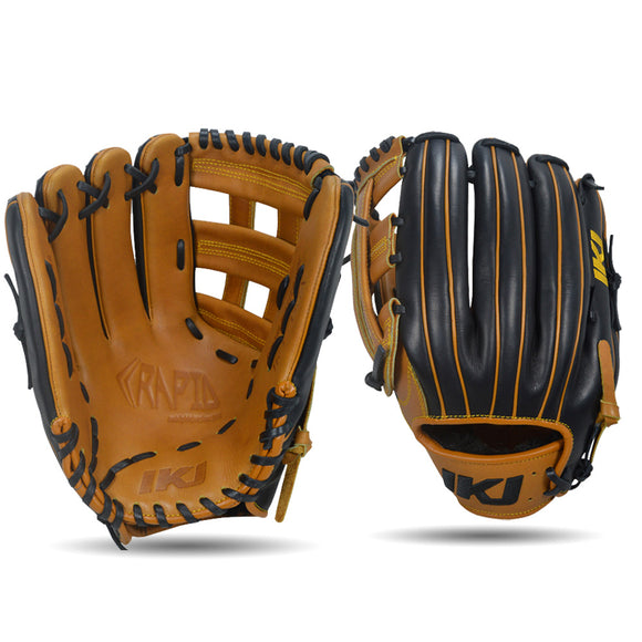 IKJ Rapid Series 12.5 INCH Double Welt Model OUTFIELD Baseball Glove in Tan and Black for LEFT-HANDED Thrower