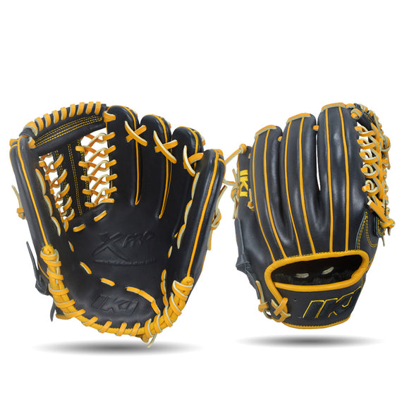 IKJ Xpro Series 11.75 INCH Double Welt Model INFIELD/PITCHER Baseball Glove in Black and Harvest for RIGHT-HANDED Thrower