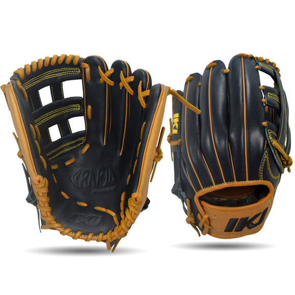 IKJ Rapid Series 12.75 INCH Single Welt Model OUTFIELD Baseball Glove in Black and Tan for RIGHT-HANDED Thrower