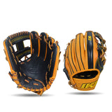 IKJ Core+ Series 11.5 INCH Double Welt Model INFIELD Baseball Glove in Black and Harvest for RIGHT-HANDED Thrower