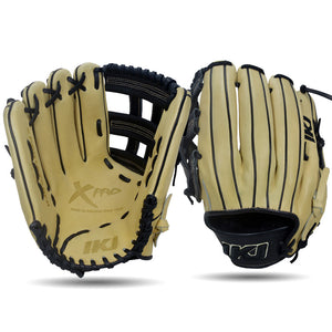 IKJ Xpro Series 12.75 INCH Double Welt Model OUTFIELD Baseball Glove in Straw and Black for LEFT-HANDED Thrower