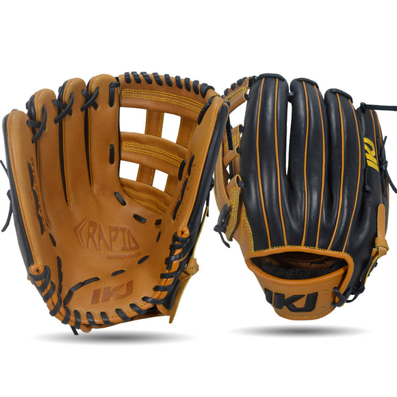IKJ Rapid Series 12.75 INCH Double Welt Model OUTFIELD Baseball Glove in Tan and Black for LEFT-HANDED Thrower
