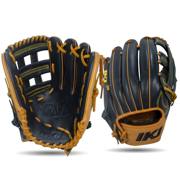 IKJ Rapid Series 12.5 INCH Single Welt Model OUTFIELD Baseball Glove in Black and Tan for RIGHT-HANDED Thrower