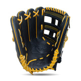 IKJ Xpro Series 12.75 INCH Double Welt Model OUTFIELD Baseball Glove in Black and Harvest for LEFT-HANDED Thrower