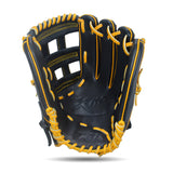 IKJ Xpro Series 12.75 INCH Double Welt Model OUTFIELD Baseball Glove in Black and Harvest for RIGHT-HANDED Thrower