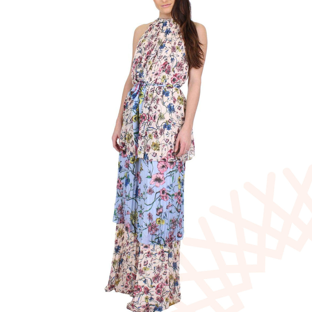 Juicy Couture Women's SW Floral Print Mix Pleated Maxi Dress