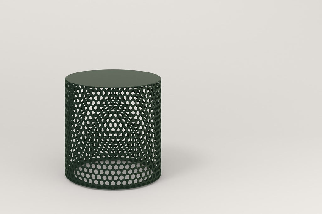 RAD Furniture Drum Side Table in Solid Steel and Fir Green