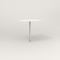 RAD Cafe Table, Rectangular 2 Top Bolt Down Base in aluminum and white powder coat.