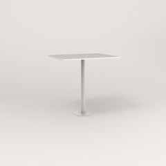 RAD Cafe Table, Rectangular 2 Top Bolt Down Base in acrylic and white powder coat.