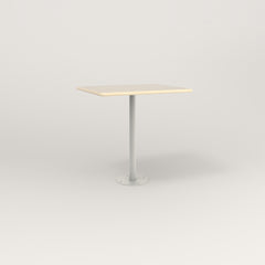 RAD Cafe Table, Rectangular 2 Top Bolt Down Base in solid ash and white powder coat.