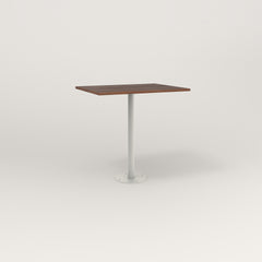 RAD Cafe Table, Rectangular 2 Top Bolt Down Base in slatted wood and white powder coat.