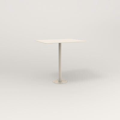 RAD Cafe Table, Rectangular 2 Top Bolt Down Base in aluminum and off-white powder coat.
