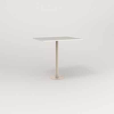 RAD Cafe Table, Rectangular 2 Top Bolt Down Base in acrylic and off-white powder coat.