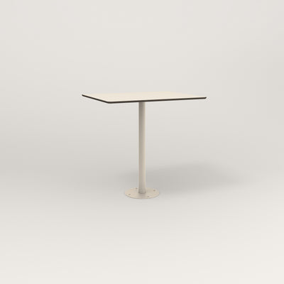 RAD Cafe Table, Rectangular 2 Top Bolt Down Base in hpl and off-white powder coat.