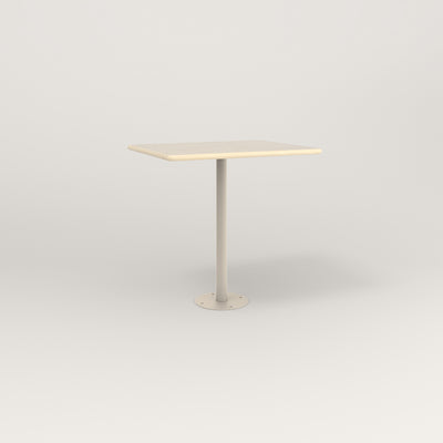 RAD Cafe Table, Rectangular 2 Top Bolt Down Base in solid ash and off-white powder coat.