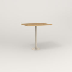 RAD Cafe Table, Rectangular 2 Top Bolt Down Base in white oak europly and off-white powder coat.