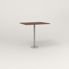 RAD Cafe Table, Rectangular 2 Top Bolt Down Base in slatted wood and grey powder coat.