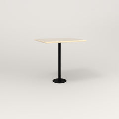 RAD Cafe Table, Rectangular 2 Top Bolt Down Base in solid ash and black powder coat.