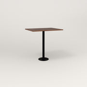 RAD Cafe Table, Rectangular 2 Top Bolt Down Base in slatted wood and black powder coat.