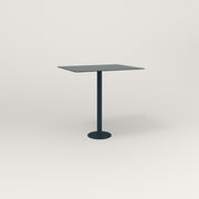RAD Cafe Table, Rectangular 2 Top Bolt Down Base in aluminum and navy powder coat.