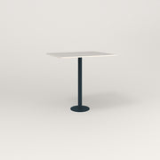 RAD Cafe Table, Rectangular 2 Top Bolt Down Base in acrylic and navy powder coat.