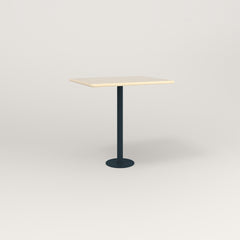 RAD Cafe Table, Rectangular 2 Top Bolt Down Base in solid ash and navy powder coat.