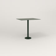 RAD Cafe Table, Rectangular 2 Top Bolt Down Base in aluminum and fir green powder coat.