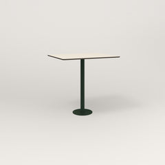 RAD Cafe Table, Rectangular 2 Top Bolt Down Base in hpl and fir green powder coat.