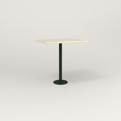 RAD Cafe Table, Rectangular 2 Top Bolt Down Base in solid ash and fir green powder coat.