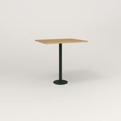 RAD Cafe Table, Rectangular 2 Top Bolt Down Base in white oak europly and fir green powder coat.