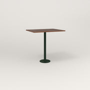RAD Cafe Table, Rectangular 2 Top Bolt Down Base in slatted wood and fir green powder coat.