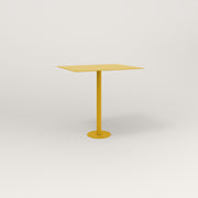 RAD Cafe Table, Rectangular 2 Top Bolt Down Base in aluminum and yellow powder coat.