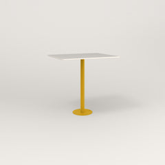 RAD Cafe Table, Rectangular 2 Top Bolt Down Base in acrylic and yellow powder coat.