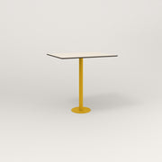 RAD Cafe Table, Rectangular 2 Top Bolt Down Base in hpl and yellow powder coat.