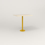 RAD Cafe Table, Rectangular 2 Top Bolt Down Base in solid ash and yellow powder coat.