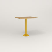 RAD Cafe Table, Rectangular 2 Top Bolt Down Base in white oak europly and yellow powder coat.