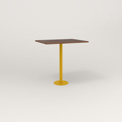 RAD Cafe Table, Rectangular 2 Top Bolt Down Base in slatted wood and yellow powder coat.