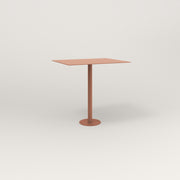 RAD Cafe Table, Rectangular 2 Top Bolt Down Base in aluminum and coral powder coat.