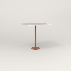 RAD Cafe Table, Rectangular 2 Top Bolt Down Base in acrylic and coral powder coat.
