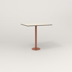 RAD Cafe Table, Rectangular 2 Top Bolt Down Base in hpl and coral powder coat.